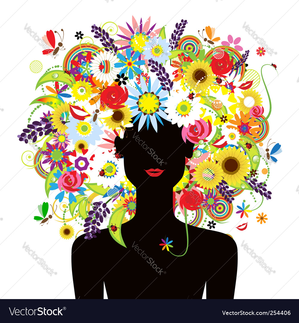 Summer face woman vector