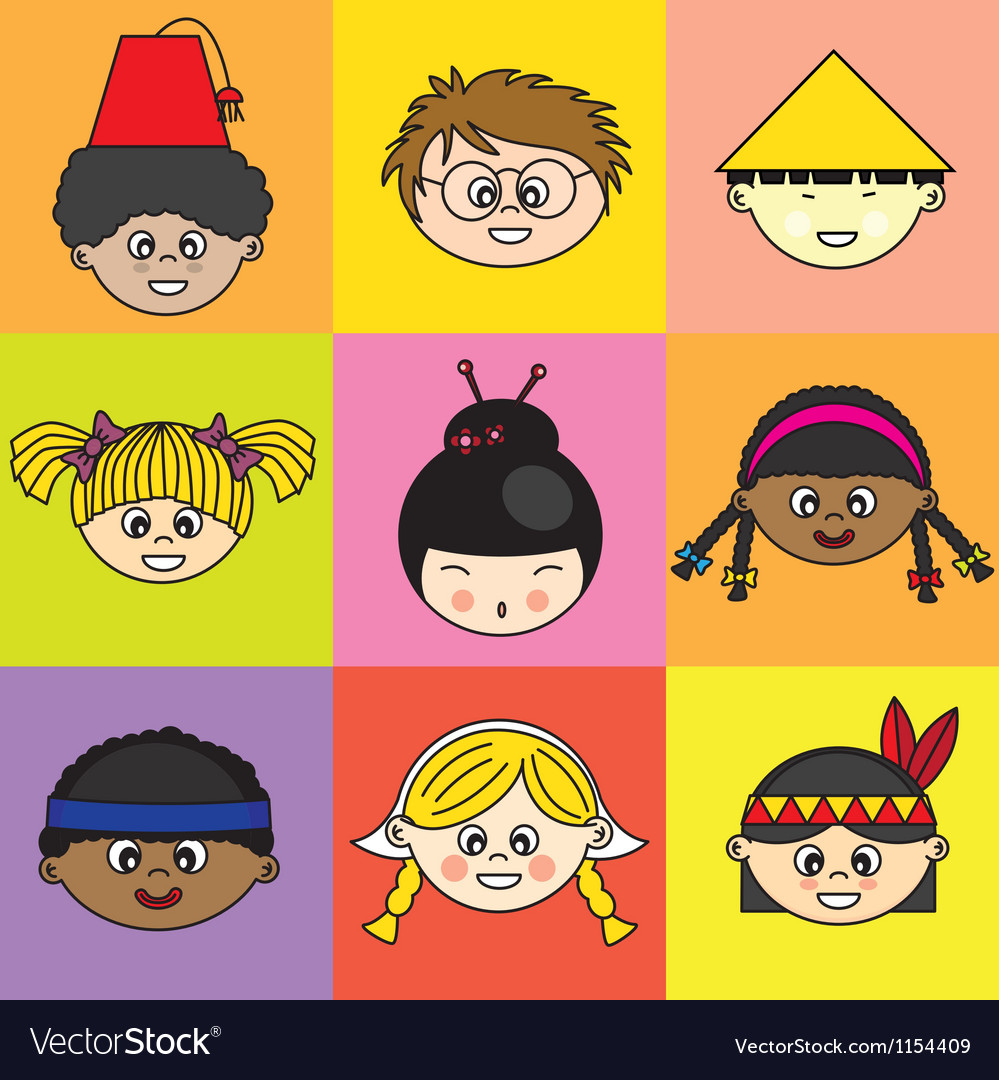 Children of different ethnicities vector