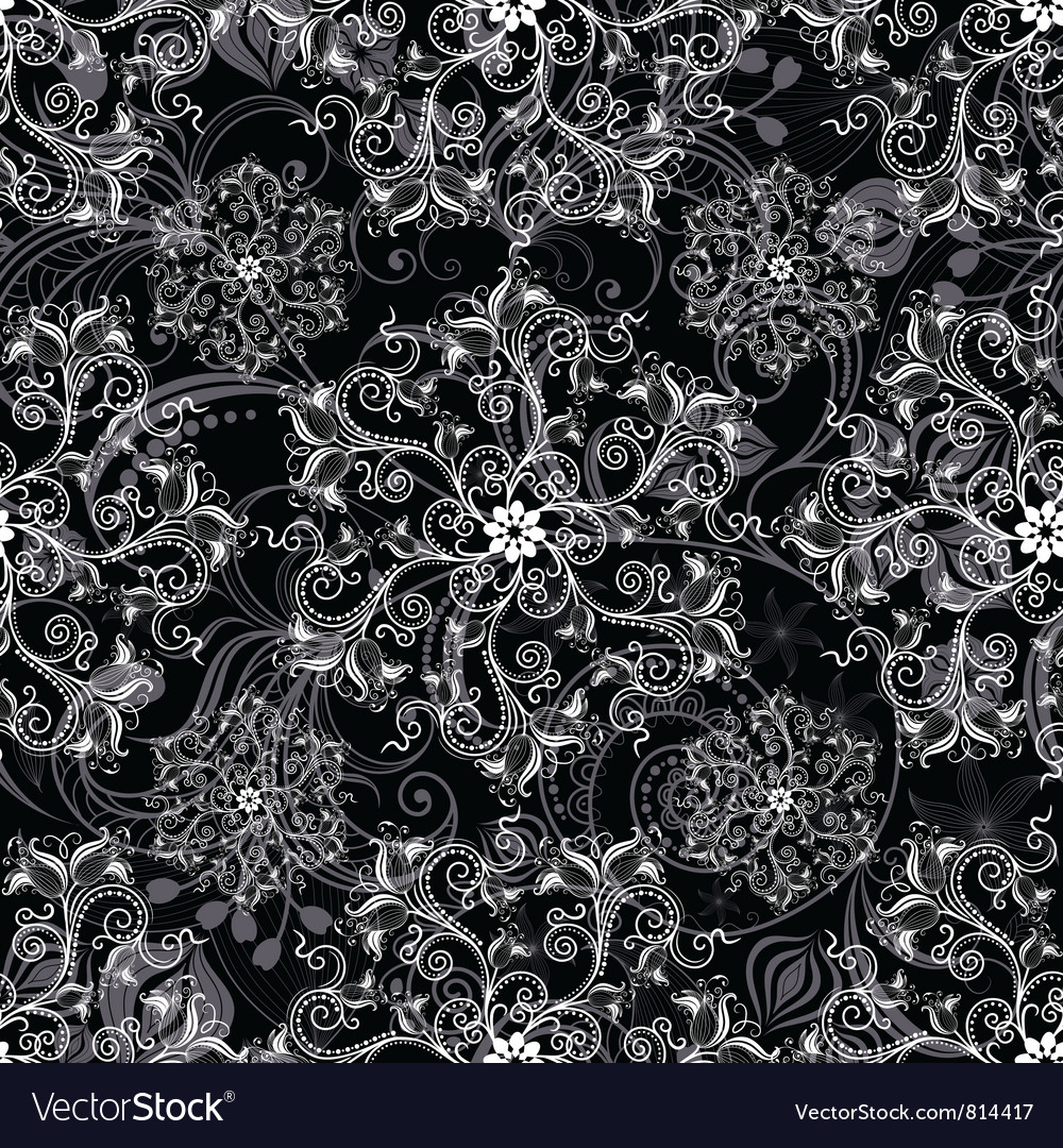 Black seamless mandala vector