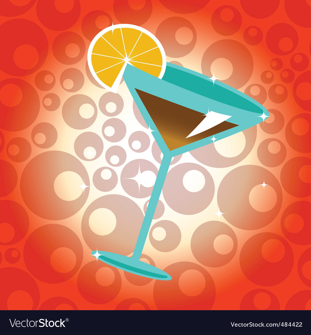 Cocktail with lemon vector