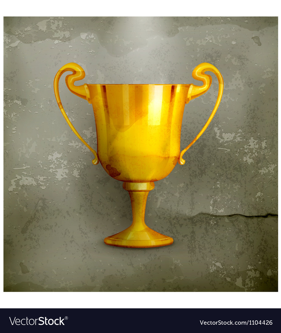 Gold trophy oldstyle vector