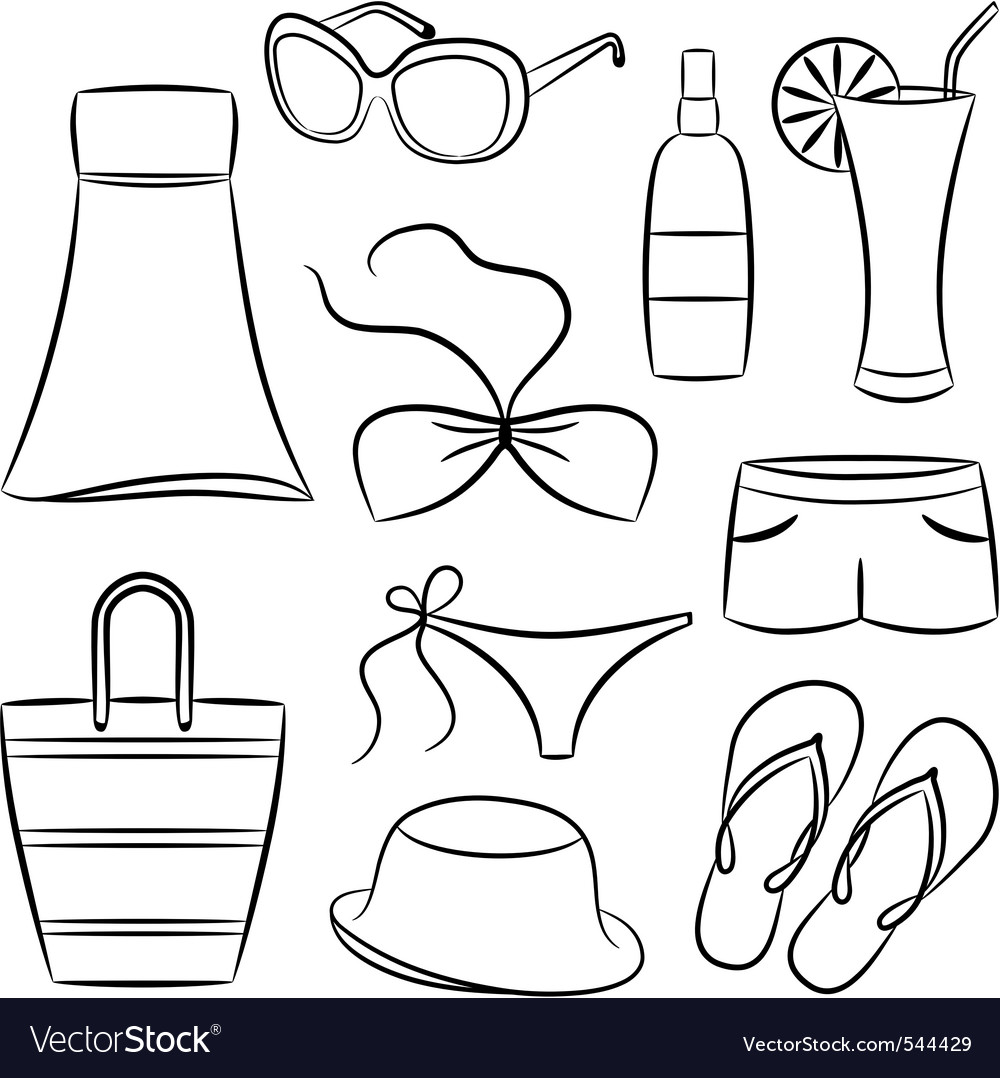 A set of beach accessories vector