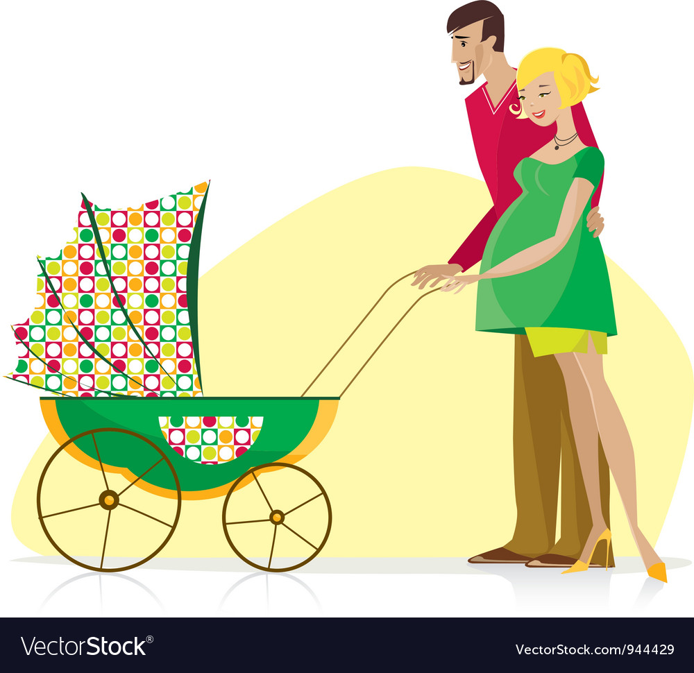 Happy couple carried baby stroller vector