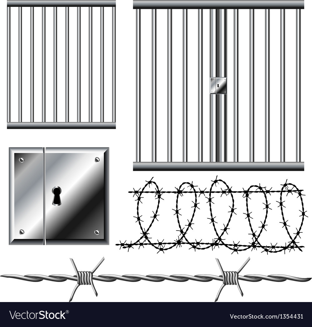 Jail grid with barbed wire set vector