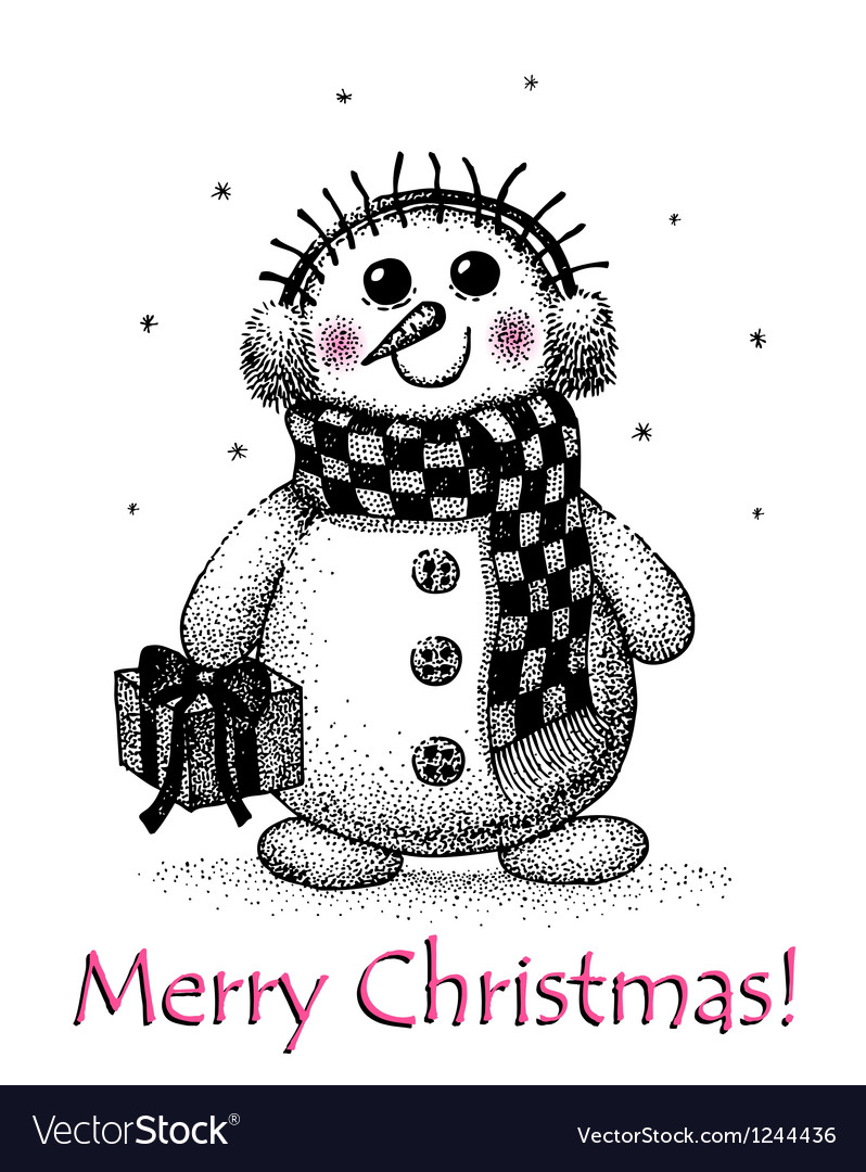 Christmas card with snowman drawing by hand vector