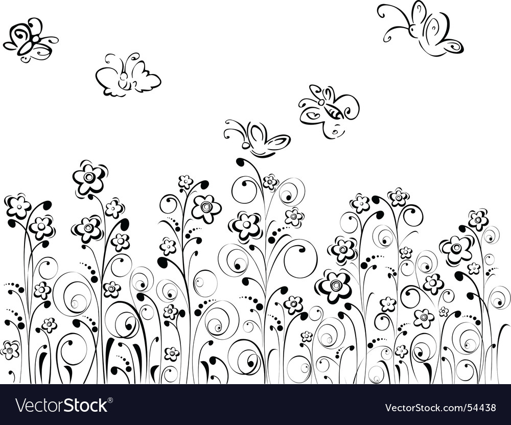 Butterflys and flowers vector