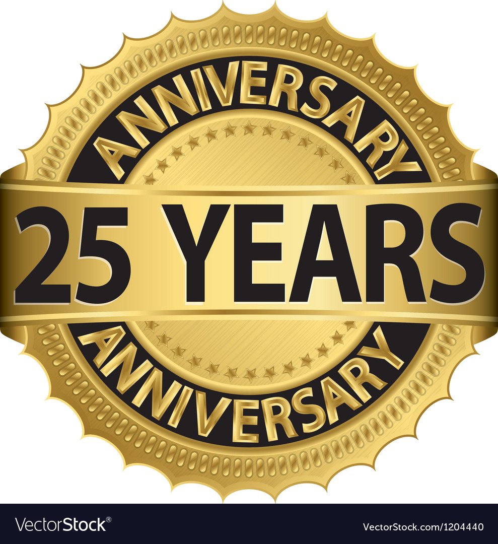 25 years anniversary golden label with ribbon vector