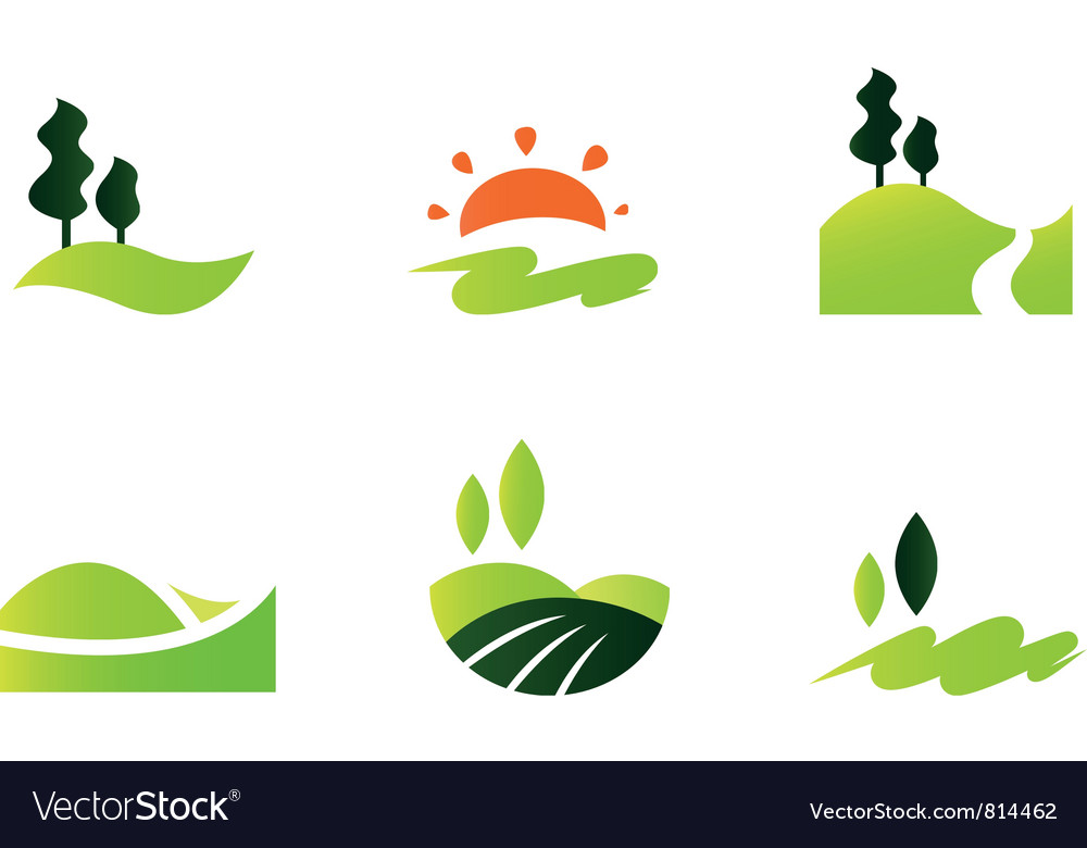 Rolling hills icons vector