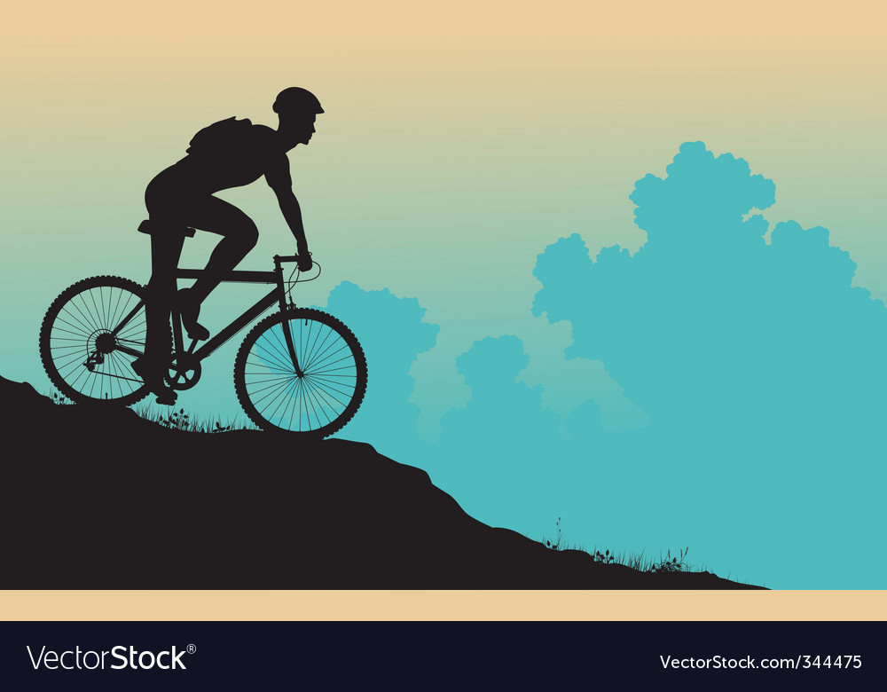 Mountain biker vector