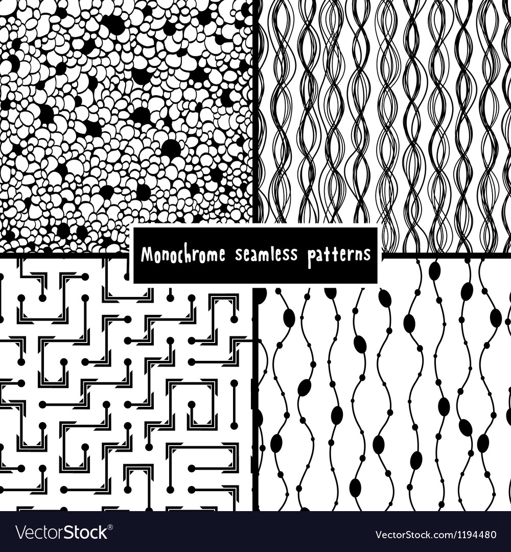 Set of four monochrome geometrical patterns vector