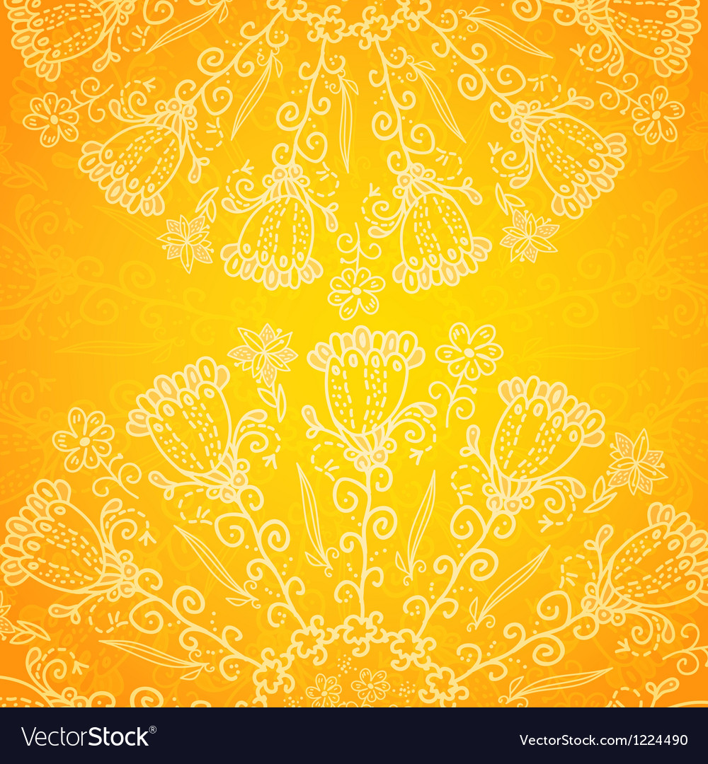 Vintage ethnic ornament orange background vector