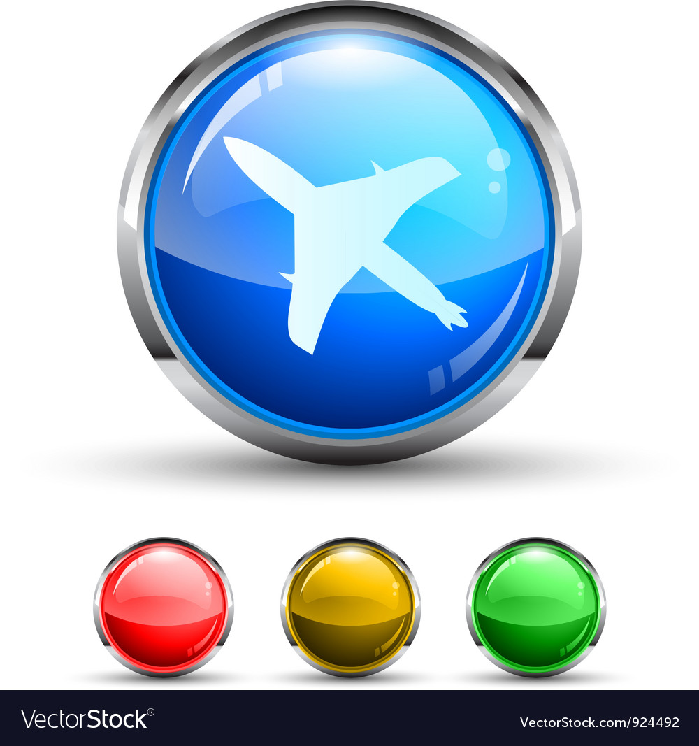 Airplane button vector