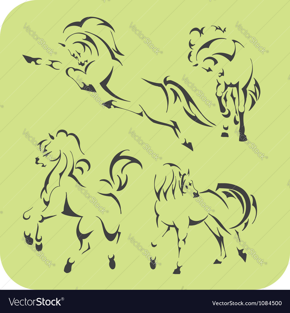 Light horses  set vinylready vector