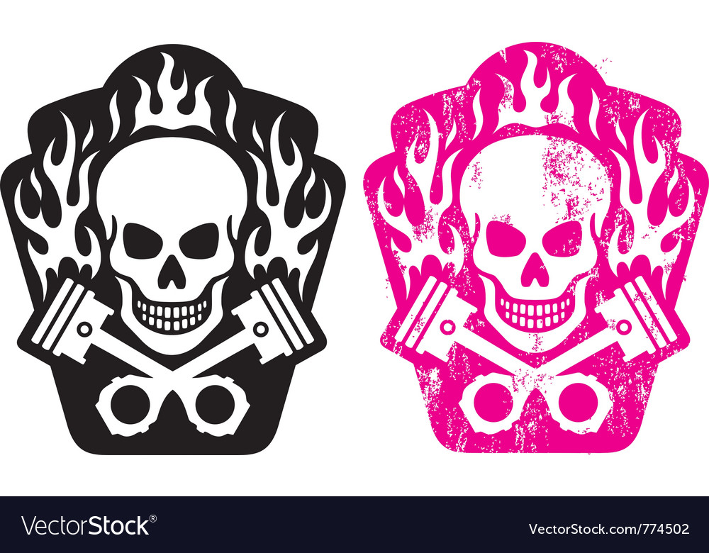 Skull and pistons vector