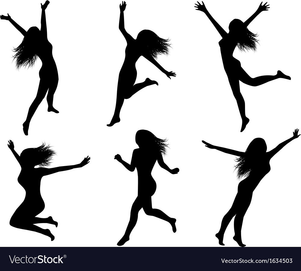 Set silhouettes of jumping women vector