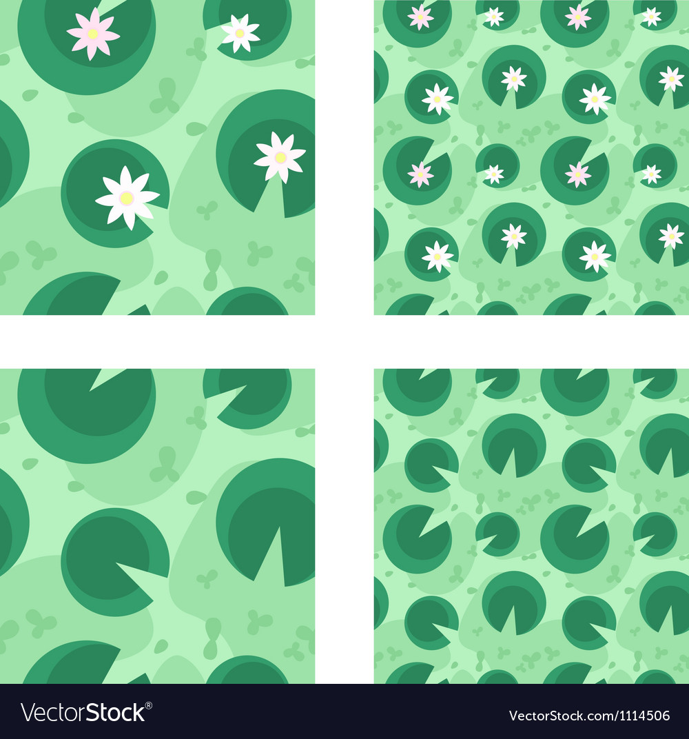 Lily in a green swamp seamless pattern vector