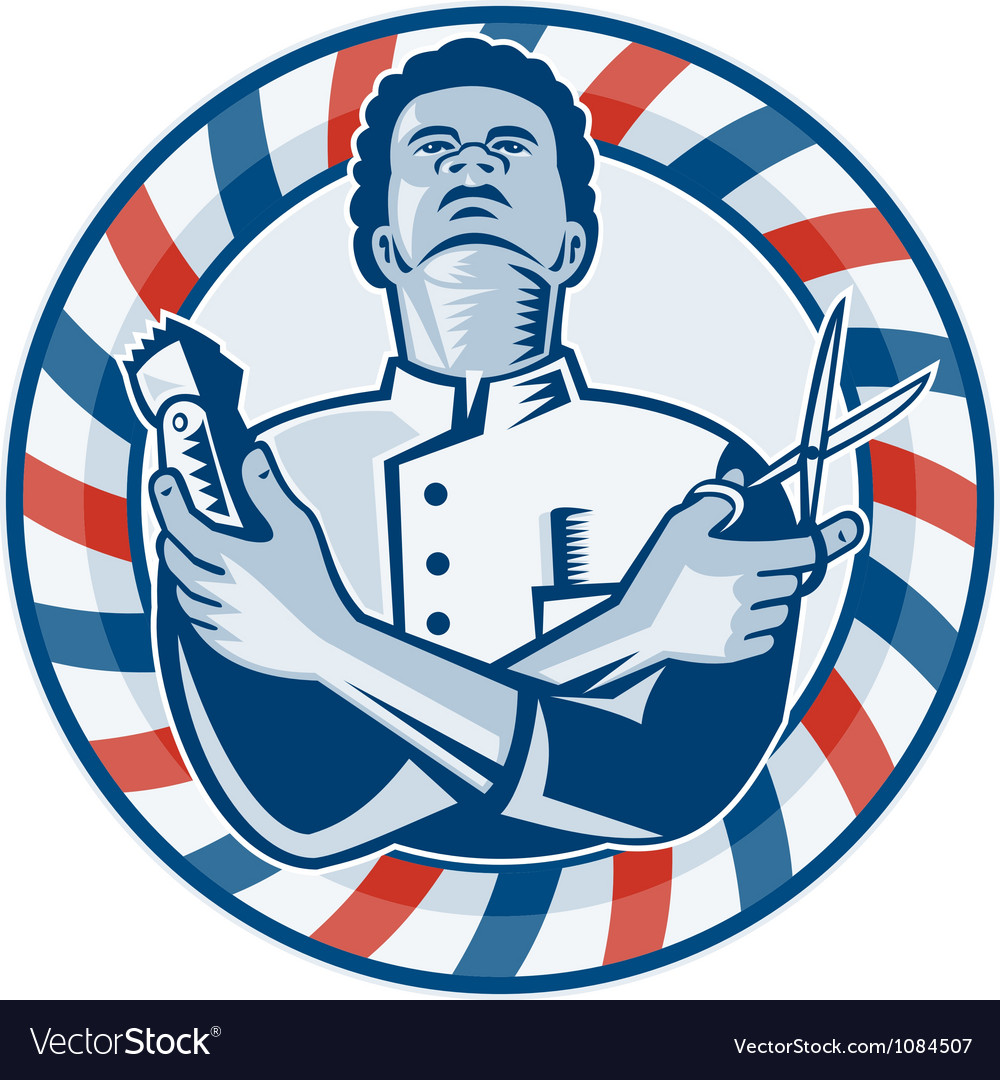 Barber with pole hair clipper and scissors retro vector