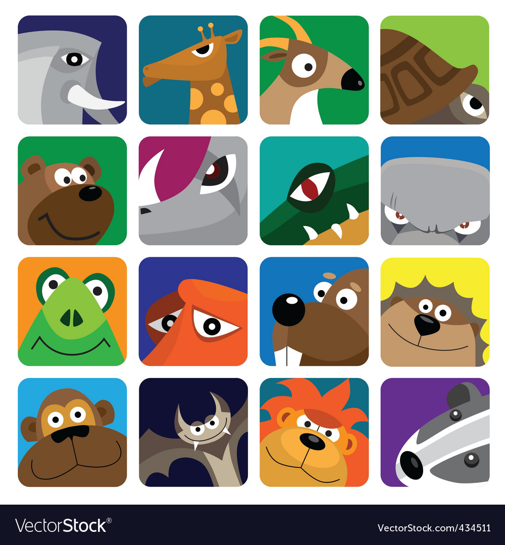 Wildlife animals set icon vector