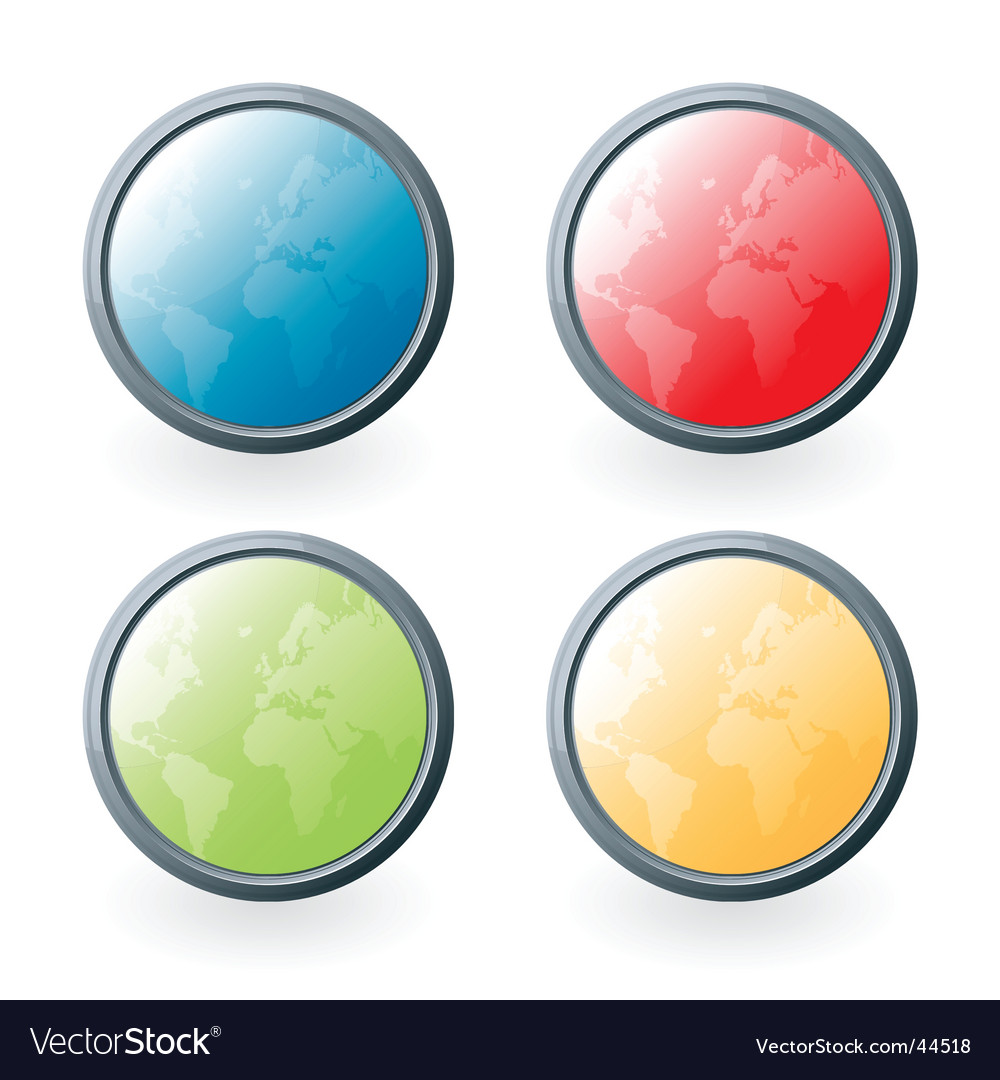 World glossy buttons vector