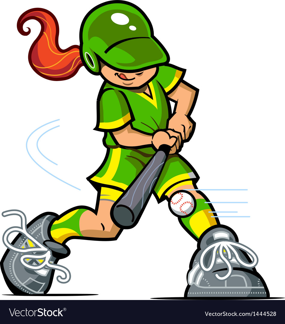Girl baseball batter vector