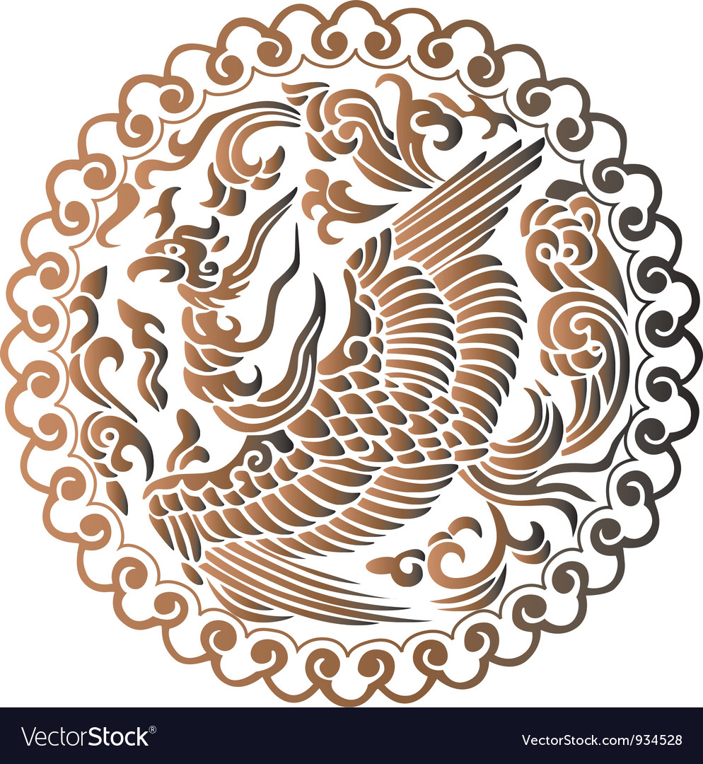 Phoenix of chinese mythology vector
