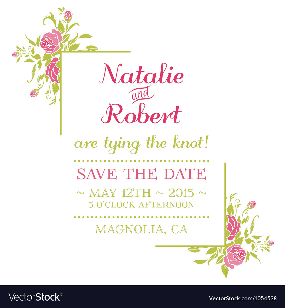 Wedding invitation card  flower theme vector