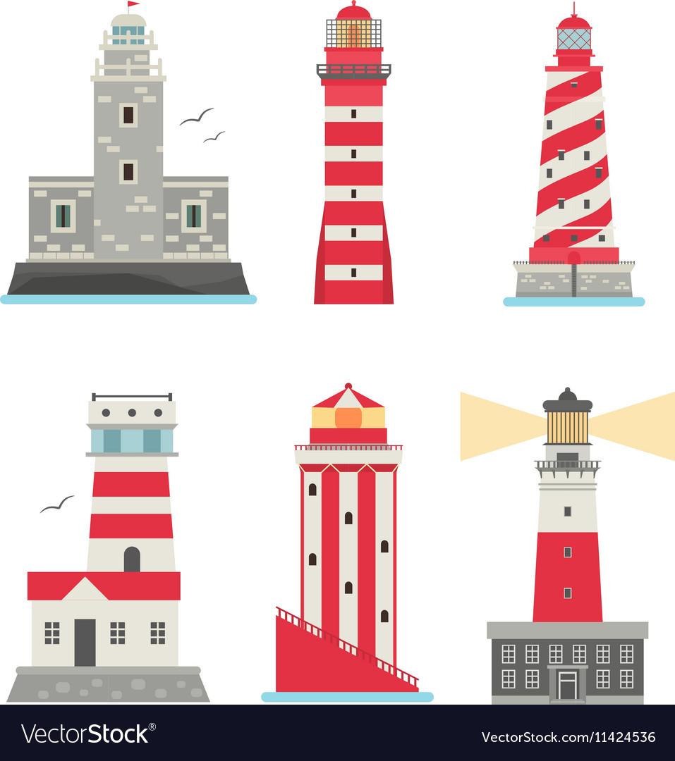 Set Of Cartoon Flat Lighthouses Vector By Adekvat