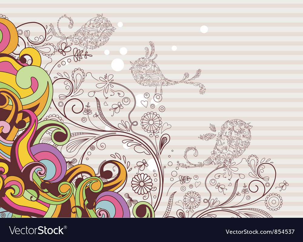Colorful background with abstract birds