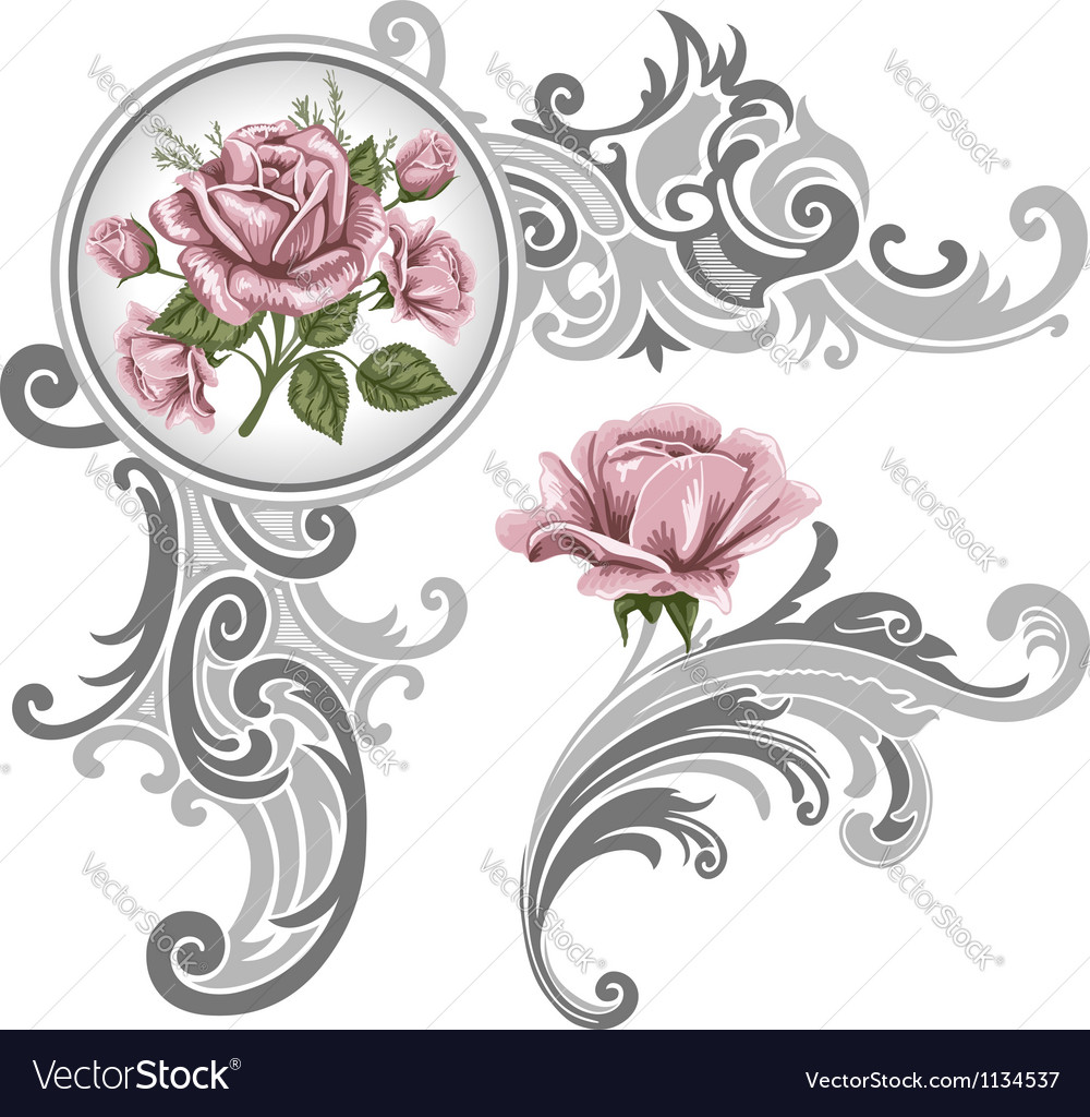 Corner piece ornament of roses vector
