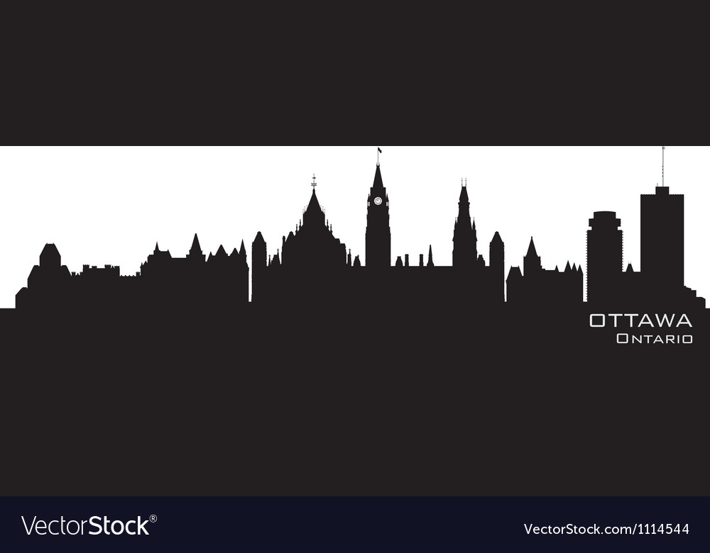 Ottawa canada skyline detailed silhouette vector