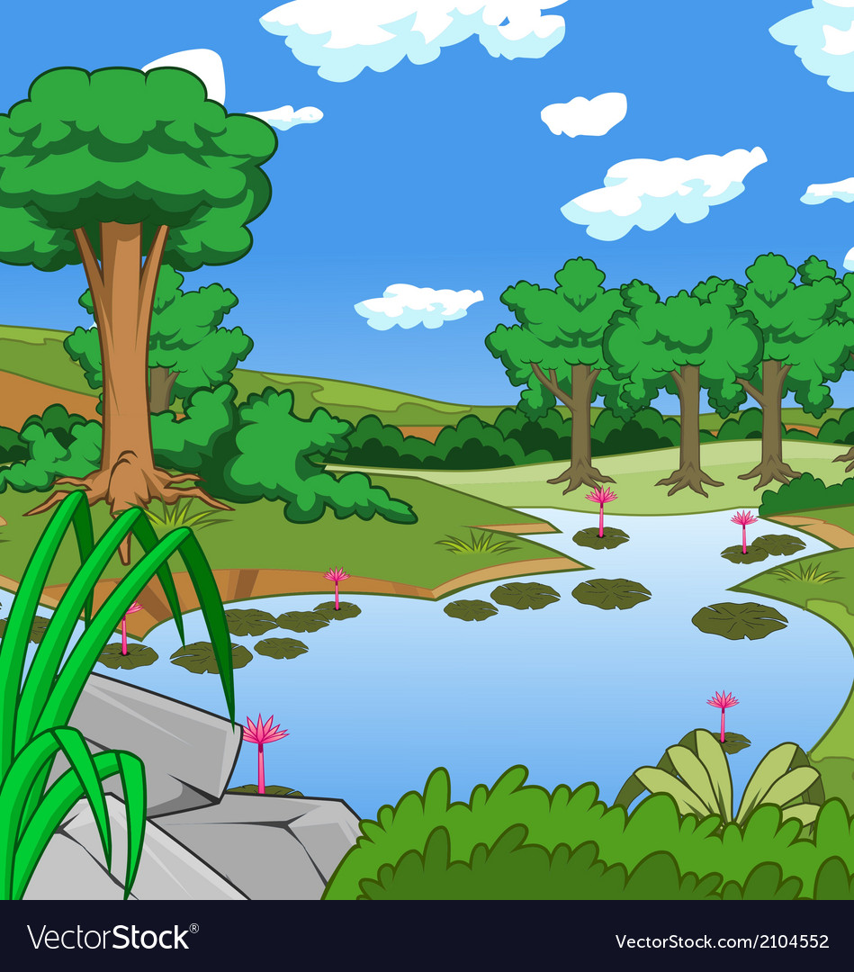 Forest tree and pond