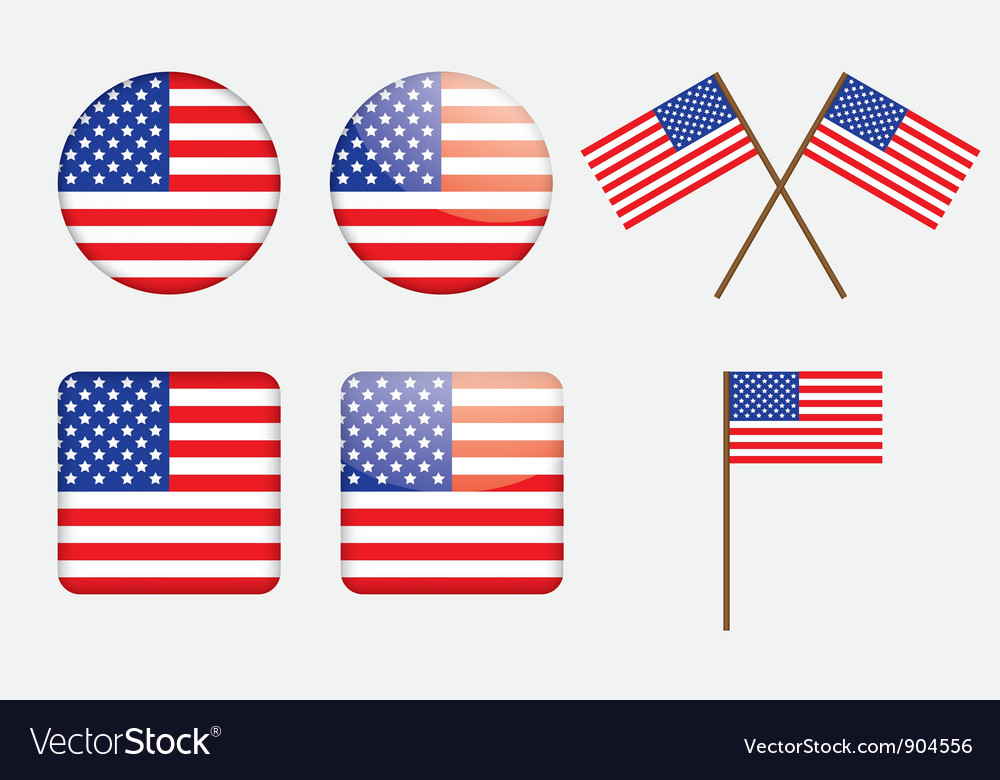 Badges with united states flag vector