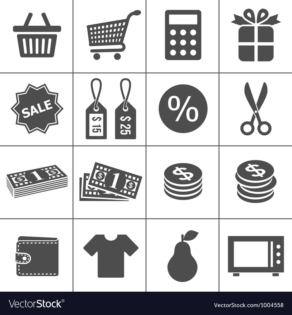 Shopping icons set  simplus series vector