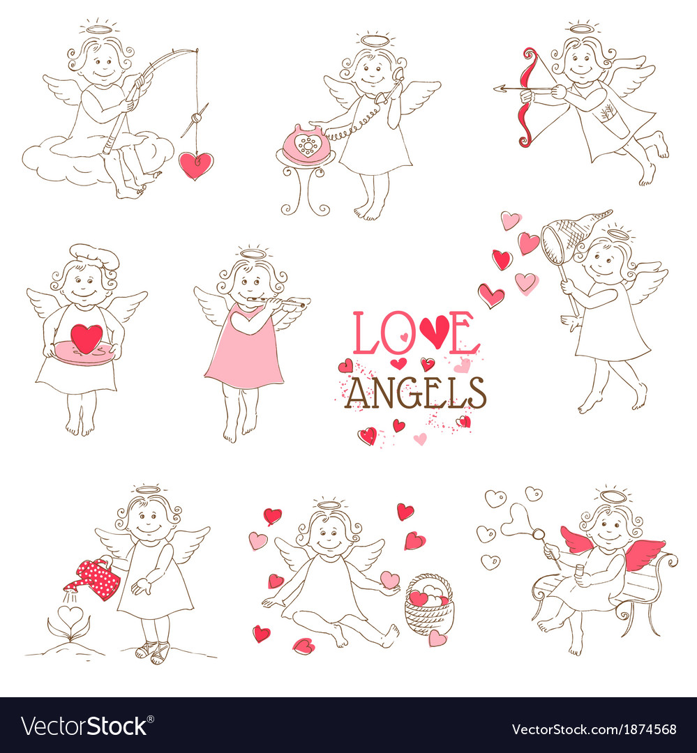 Set of cute angels and cupids  love wedding valen vector