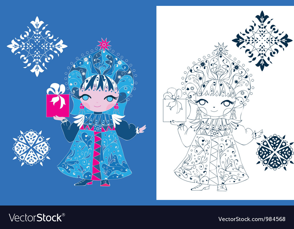Free snow maiden russian style vector