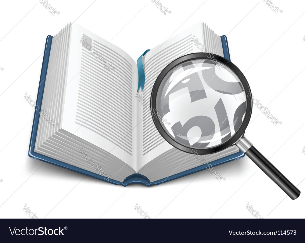 Open book with magnifying glass vector
