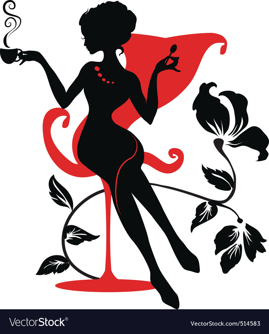 Stylish woman silhouette vector
