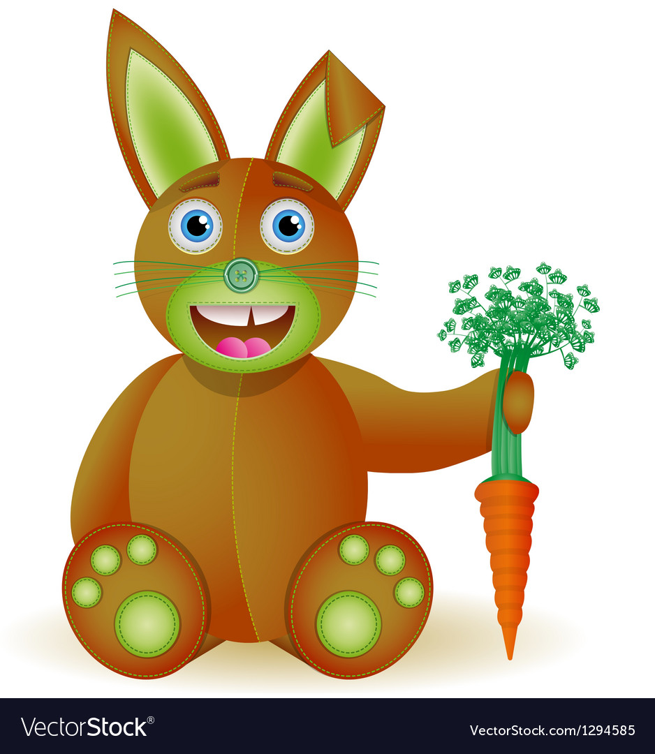Bunny toy with carrot vector