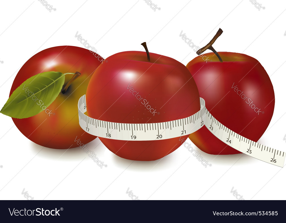 Three red apples vector