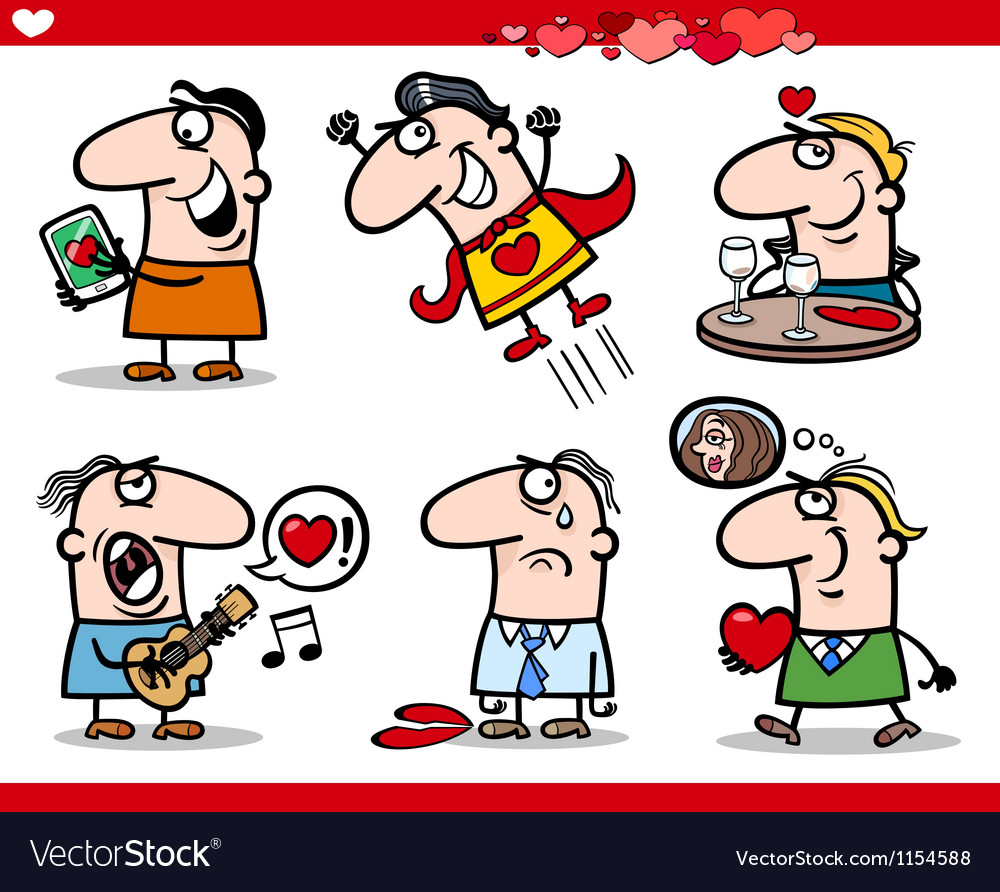 Valentines day themes cartoon vector