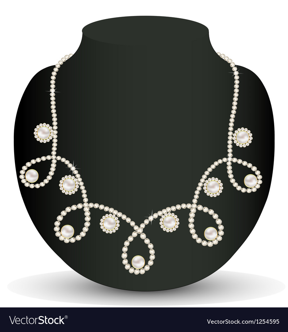 Necklace women for marriage with pearls and precio vector