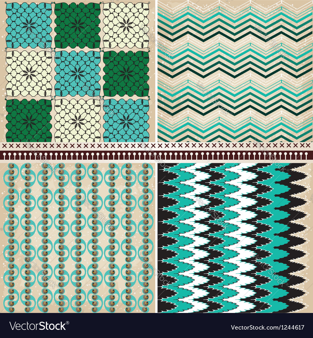 4 geometric patterns set vector