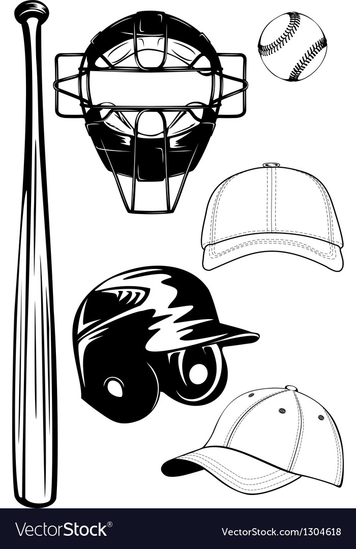 Helmet bat cap ball mask set vector