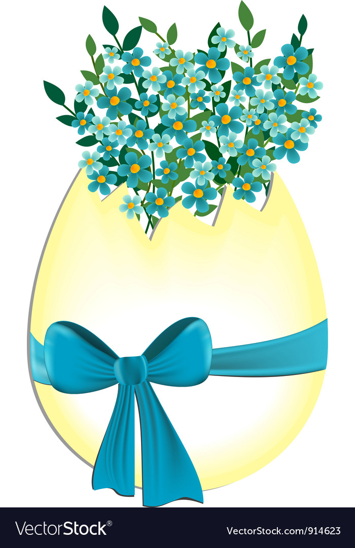 Egg with myosotis flowers vector