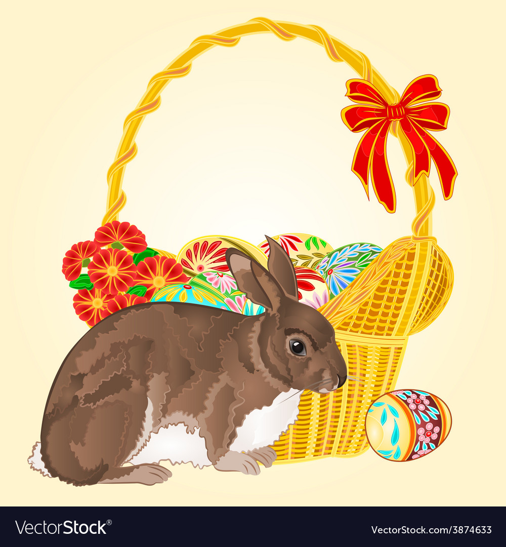 Easter rabbit and easter wicker