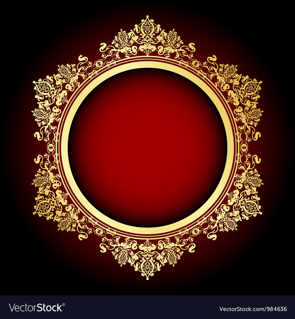 Gold and red frame vector