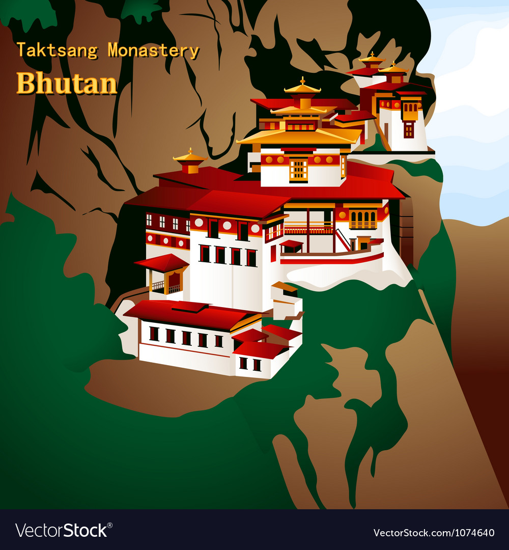 Tigers nest monastery vector