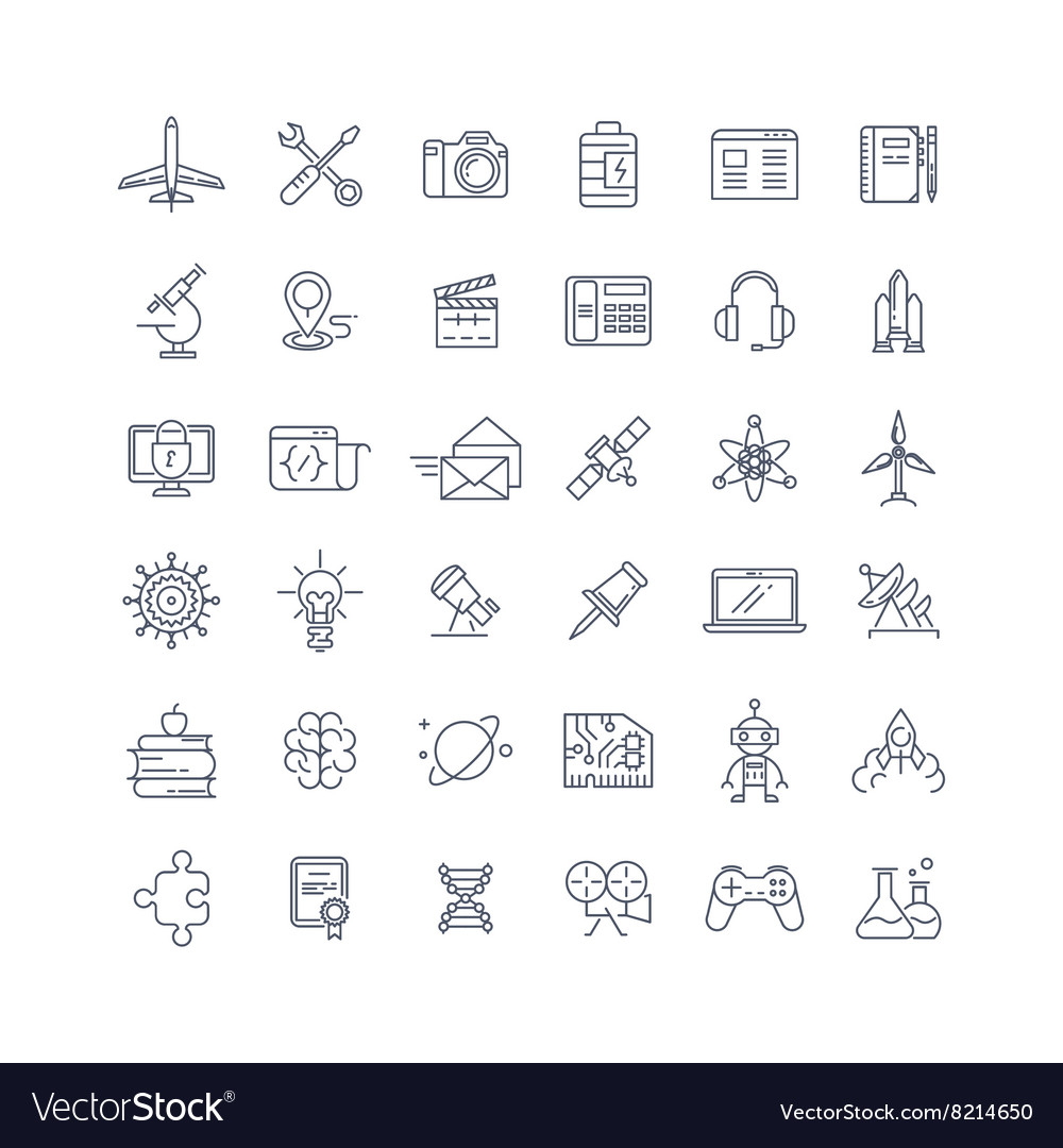 ... line icons set vector by microstocksec - Image #8214650 - VectorStock: https://www.vectorstock.com/royalty-free-vector/science-media-and...