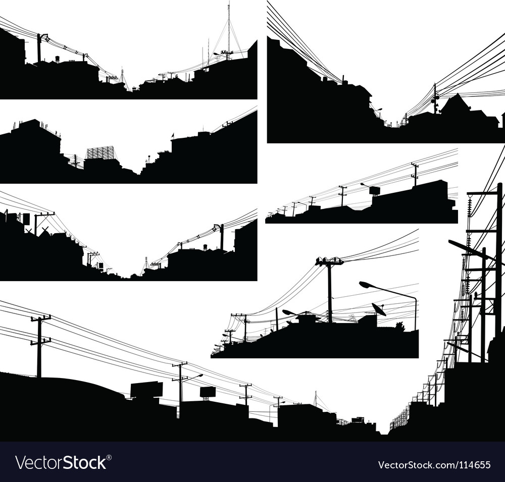 Urban foreground silhouettes vector