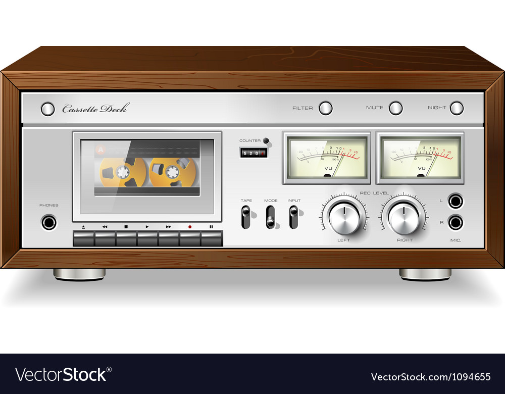 Vintage analog stereo cassette tape deck player vector